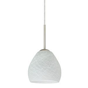 Bolla Satin Nickel One-Light LED Mini Pendant with Cocoon Glass