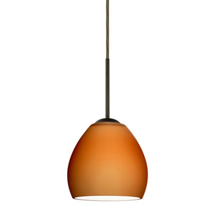 Bolla Bronze One-Light LED Mini Pendant with Amber Matte Glass