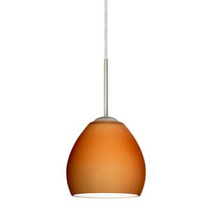 Bolla Satin Nickel One-Light LED Mini Pendant with Amber Matte Glass