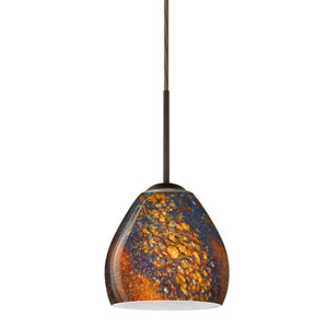 Bolla Bronze One-Light LED Mini Pendant with Ceylon Glass