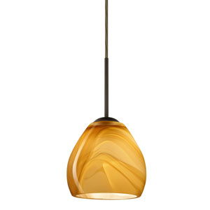Bolla Bronze One-Light LED Mini Pendant with Honey Glass