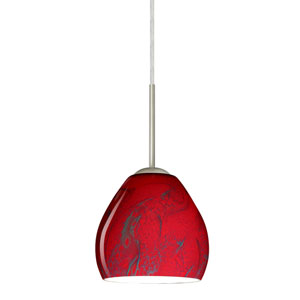 Bolla Satin Nickel One-Light LED Mini Pendant with Magma Glass