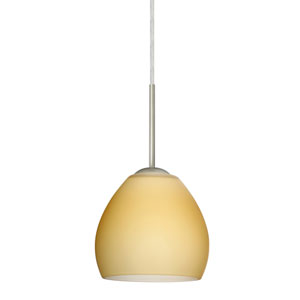 Bolla Satin Nickel One-Light LED Mini Pendant with Vanilla Matte Glass