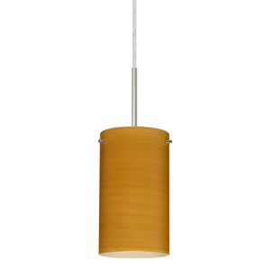 Stilo 7 Satin Nickel One-Light LED Mini Pendant with Oak Glass