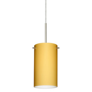 Stilo 7 Satin Nickel One-Light LED Mini Pendant with Vanilla Matte Glass