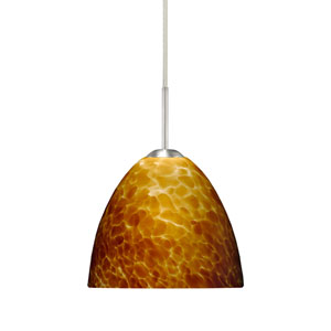Sasha II Satin Nickel One-Light LED Mini Pendant with Amber Cloud Glass