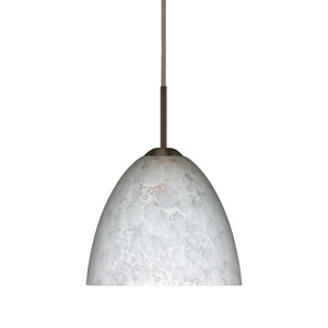Sasha II Bronze One-Light LED Mini Pendant with Carrera Glass