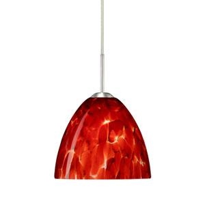 Sasha II Satin Nickel One-Light LED Mini Pendant with Garnet Glass