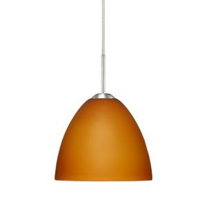 Sasha II Satin Nickel One-Light LED Mini Pendant with Amber Matte Glass