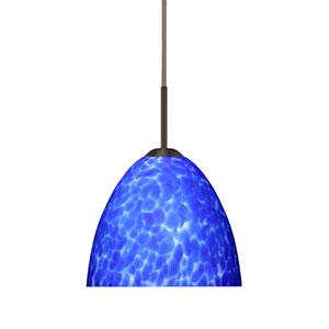 Sasha II Bronze One-Light LED Mini Pendant with Blue Cloud Glass