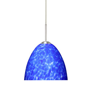 Sasha II Satin Nickel One-Light LED Mini Pendant with Blue Cloud Glass