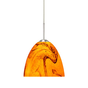 Sasha II Satin Nickel One-Light LED Mini Pendant with Habanero Glass