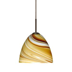 Sasha II Bronze One-Light LED Mini Pendant with Honey Glass