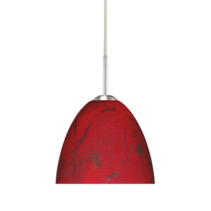 Sasha II Satin Nickel One-Light LED Mini Pendant with Magma Glass