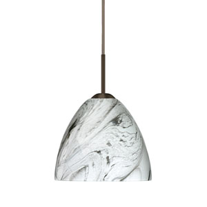 Sasha II Bronze One-Light LED Mini Pendant with Marble Grigio Glass