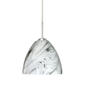 Sasha II Satin Nickel One-Light LED Mini Pendant with Marble Grigio Glass