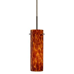 Copa Bronze One-Light LED Mini Pendant with Amber Cloud Glass