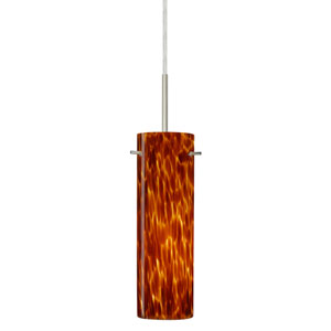 Copa Satin Nickel One-Light LED Mini Pendant with Amber Cloud Glass
