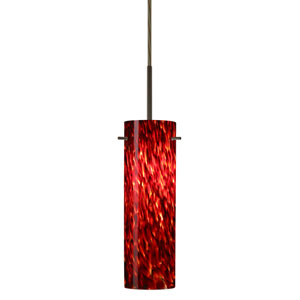 Copa Bronze One-Light LED Mini Pendant with Garnet Glass