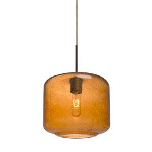 Niles Bronze One-Light Cord Mini Pendant with Amber Bubble Shade