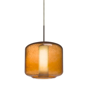 Niles Bronze One-Light Cord Mini Pendant with Amber Bubble and Opal Shade