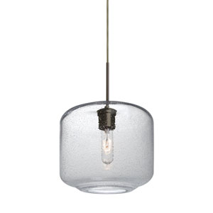 Niles Bronze One-Light Cord Mini Pendant with Clear Bubble Shade