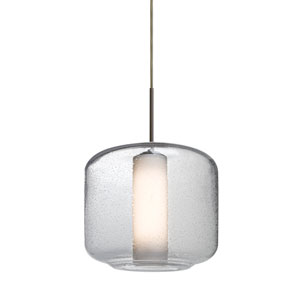 Niles Bronze One-Light Cord Mini Pendant with Clear Bubble and Opal Shade