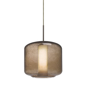 Niles Bronze One-Light Cord Mini Pendant with Smoke Bubble and Opal Shade
