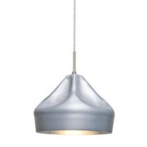Lotus Satin Nickel One-Light LED Mini Pendant with Silver Reflector Shade