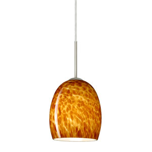 Lucia Amber Cloud Satin Nickel Mini Pendant