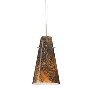 Cierro Satin Nickel One-Light Mini Pendant with Ceylon Glass