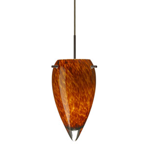 Juli Bronze One-Light Mini Pendant with Amber Cloud Glass
