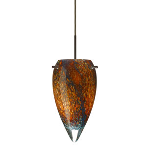 Juli Bronze One-Light Mini Pendant with Ceylon Glass