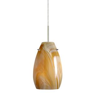 Pera 9 Satin Nickel One-Light Mini Pendant with Honey Glass
