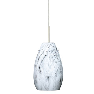 Pera 9 Satin Nickel One-Light Mini Pendant with Marble Grigio Glass