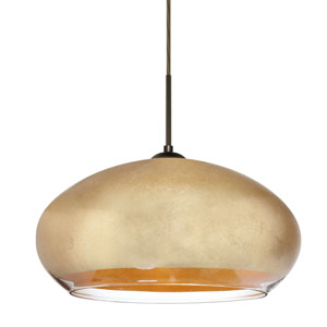 Brio Bronze One-Light Flat Canopy 120v Midi Pendant with Gold Foil Glass