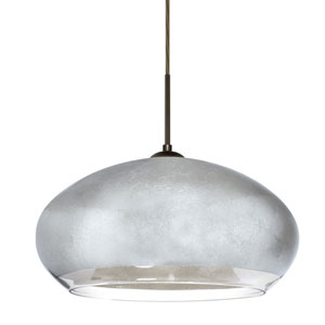 Brio Bronze One-Light Flat Canopy 120v Midi Pendant with Silver Foil Glass