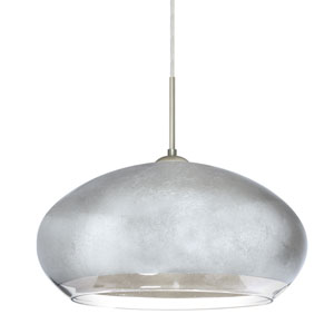 Brio Satin Nickel One-Light Flat Canopy 120v Midi Pendant with Silver Foil Glass