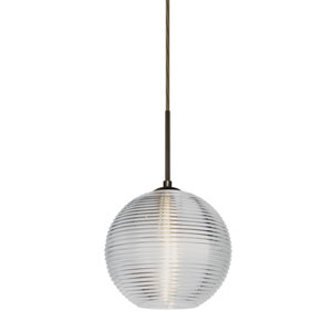 Kristall Bronze One-Light Flat Canopy 120v Midi Pendant with Clear Glass