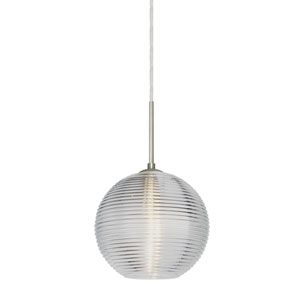 Kristall Satin Nickel One-Light Flat Canopy 120v Midi Pendant with Clear Glass