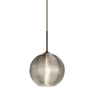 Kristall Bronze One-Light Flat Canopy 120v Midi Pendant with Smoke Glass