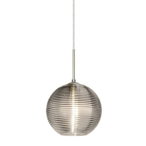 Kristall Satin Nickel One-Light Flat Canopy 120v Midi Pendant with Smoke Glass