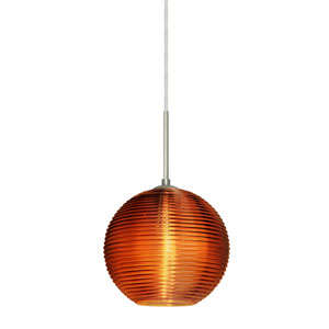 Kristall Satin Nickel One-Light Flat Canopy 120v Midi Pendant with Amber Glass