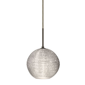 Kristall Bronze One-Light Flat Canopy 120v Midi Pendant with Glitter Glass