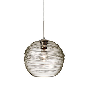 Wave Satin Nickel 10-Inch Wide One-Light Flat Canopy 120v Pendant with Smoke Glass