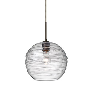 Wave 10 Bronze One-Light Flat Canopy 120v Midi Pendant with Clear Glass