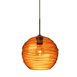 Wave Bronze 10-Inch Wide One-Light Flat Canopy 120v Midi Pendant with Amber Glass