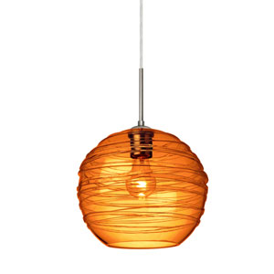 Wave Satin Nickel 10-Inch Wide One-Light Flat Canopy 120v Midi Pendant with Amber Glass