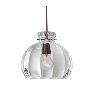 Pinta Bronze 10.25 Wide One-Light Flat Canopy 120v Midi Pendant with Clear Glass
