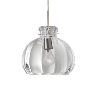 Pinta Satin Nickel 10.25 Wide One-Light Flat Canopy 120v Midi Pendant with Clear Glass